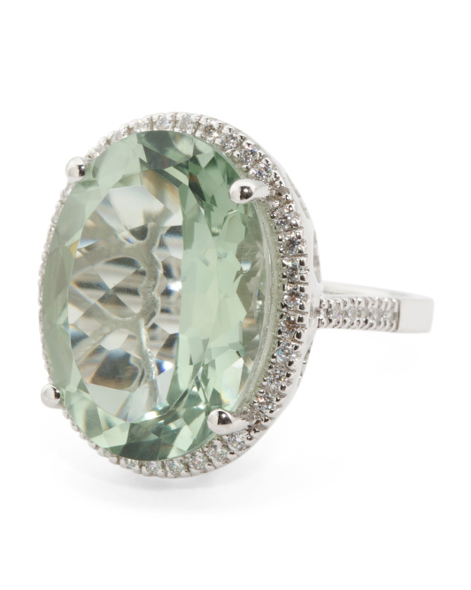 Sterling Silver Oval Green Amethyst And Cubic Zirconia Ring