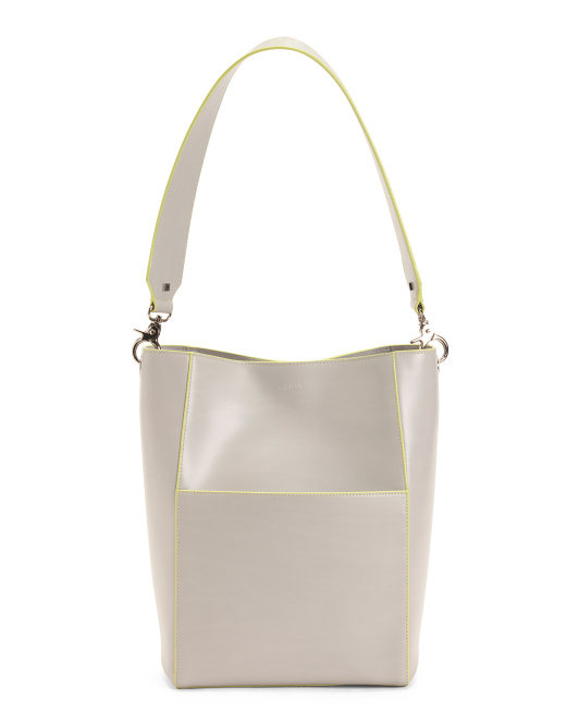 Audrey Berta Leather Bucket Bag