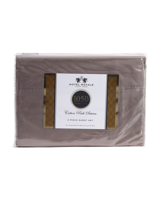 Made In India 4pc 1050tc Cotton Rich Sheet Set