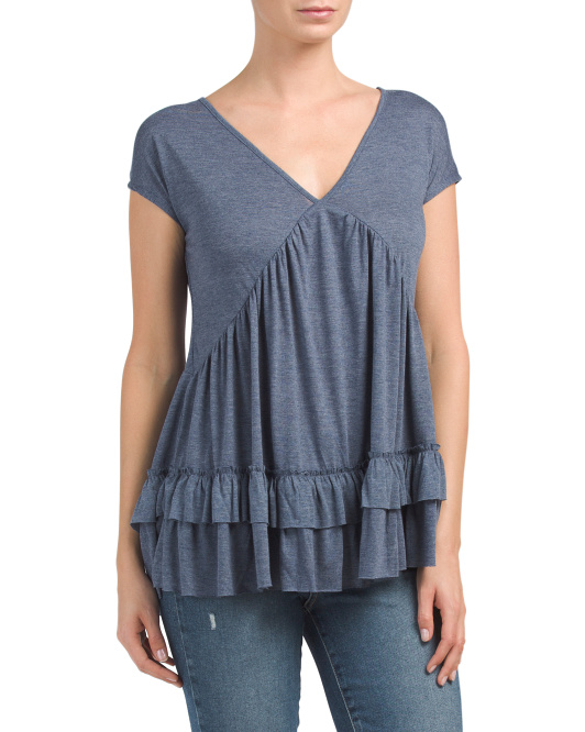 Tiered Ruffle Hem Drapey Top