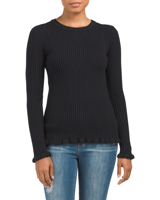 Pullover Sweater With Frill Hem