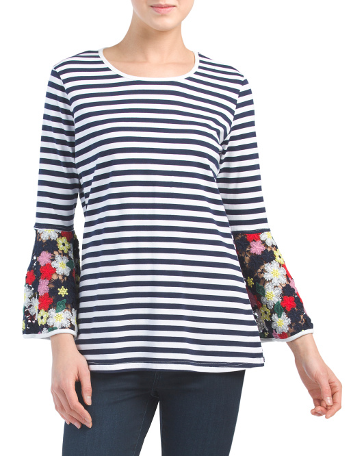 Stripe And Floral Bell Sleeve Top