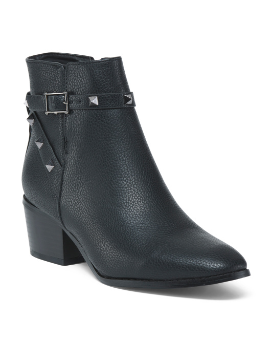 Block Heel Booties With Studs