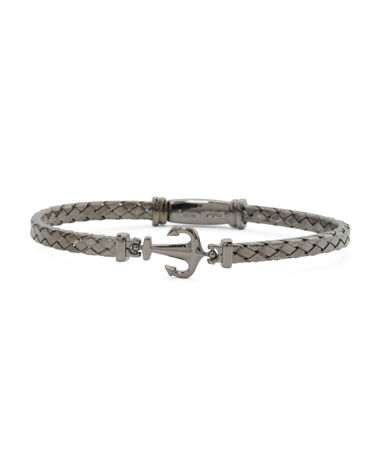 Men's Made In Italy Plated Sterling Silver Anchor Bracelet