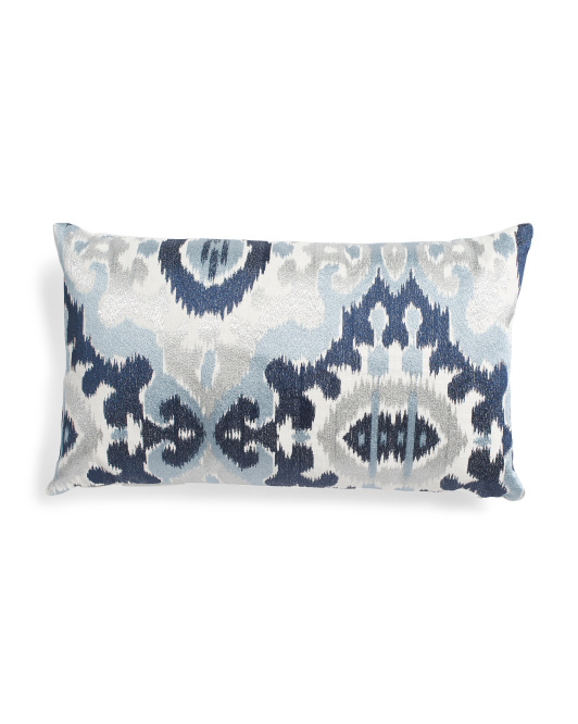 Made In India 14x24 Ikat Embroidered Pillow