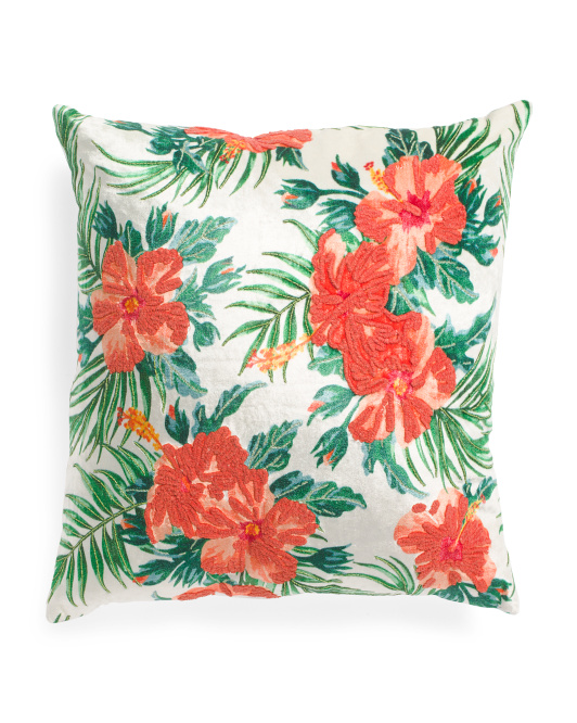 Made In India 22x22 Velvet Tropical Pillow