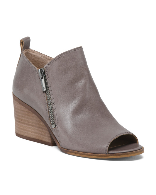 Peep Toe Side Zip Leather Booties