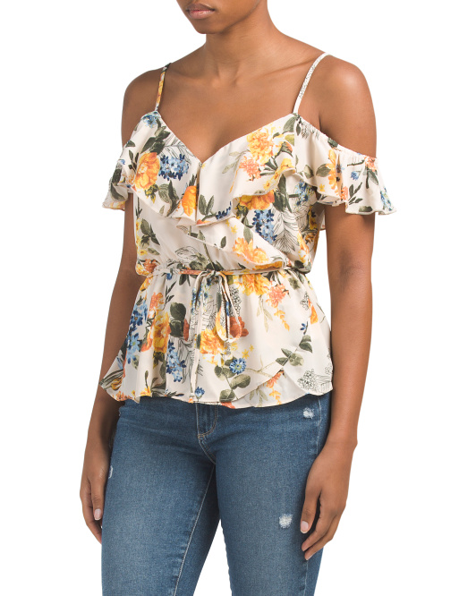 Juniors Ruffle Wrap Top