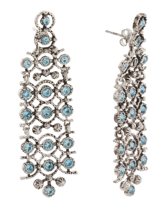 Made In Italy Sterling Silver Stone Statement Earrings