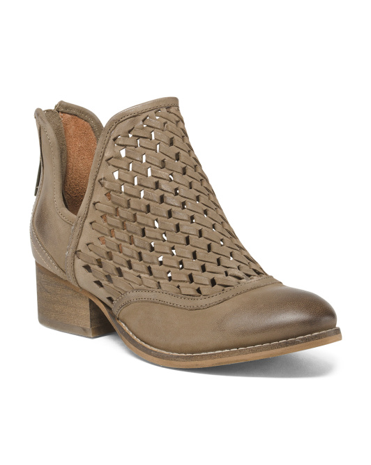 Open Weave Leather Booties