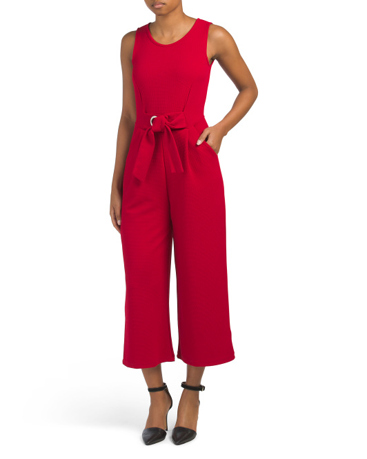Juniors Belted Crop Jumpsuit