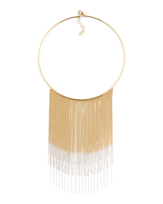 Made In Italy Two Tone Sterling Silver Fringe Necklace