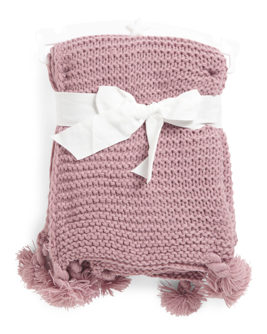 Braided Fringe Knit Baby Throw