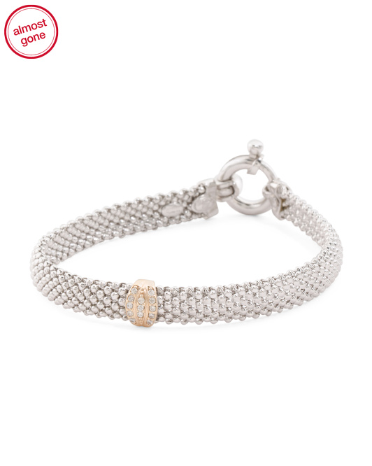 Made In Italy Sterling Silver Mesh And 14k Gold Bracelet