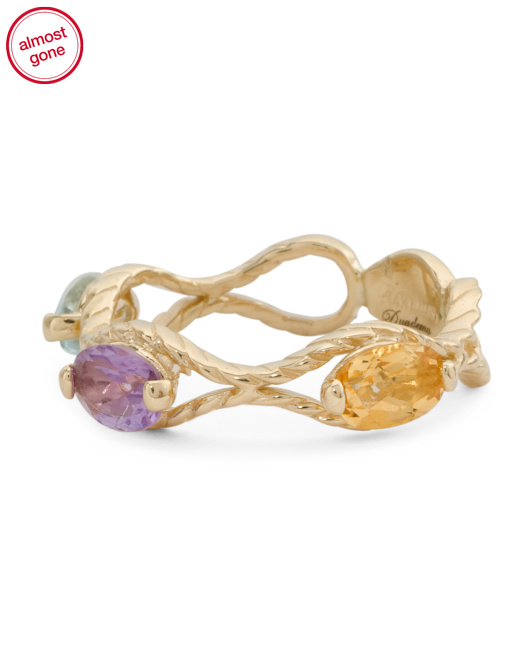 Made In Italy 14k Gold Multi Gemstone Rope Infinity Ring