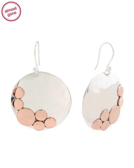 Made In Mexico Sterling Silver And Copper Disc Earrings