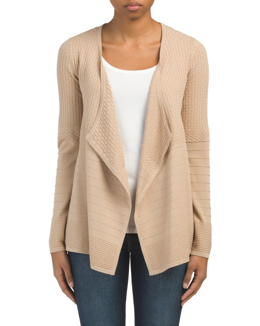 Textured Draped Open Cardigan