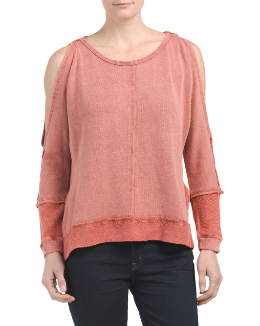 Juniors Cold Shoulder French Terry Top