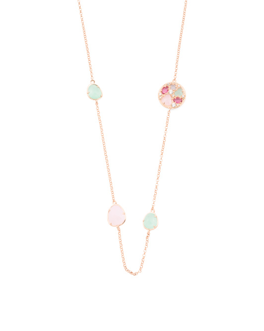 Made In Italy Rose Gold Plated Sterling Silver Stone Necklace