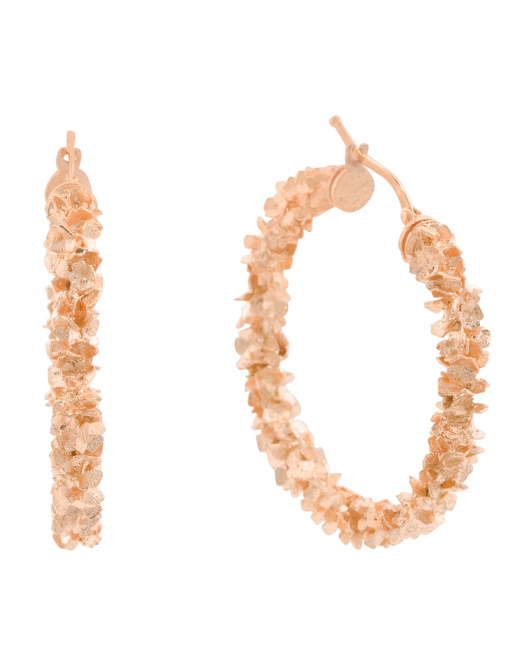 Made In Italy 14k Rose Gold Confetti Hoop Earrings
