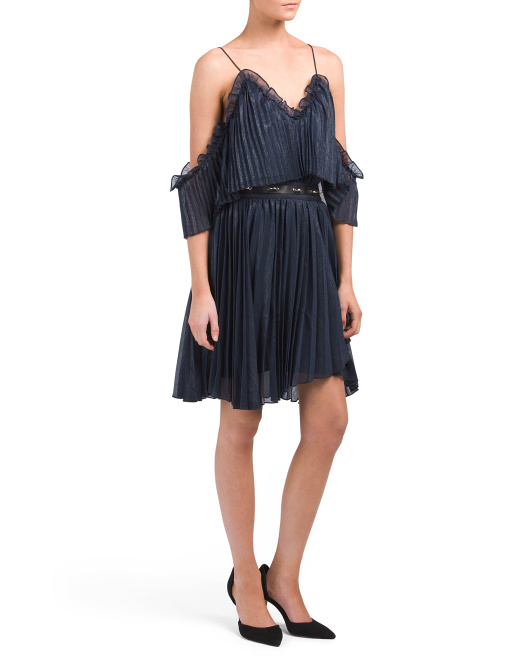 Pleated Dress With Belt Detail