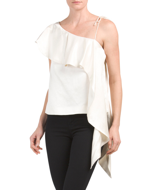 One Shoulder Silk Top