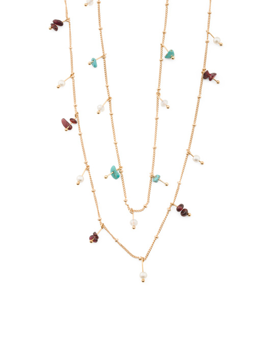Multi Colored Natural Stone Double Layer Necklace