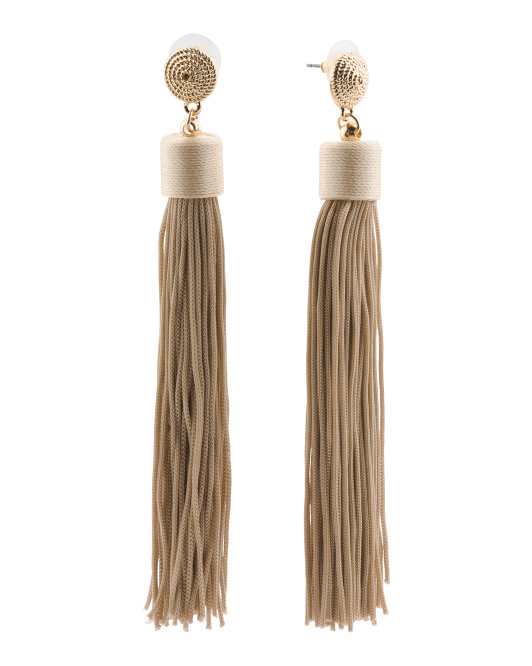 14k Gold Plated Brass Silk Tassel Earrings