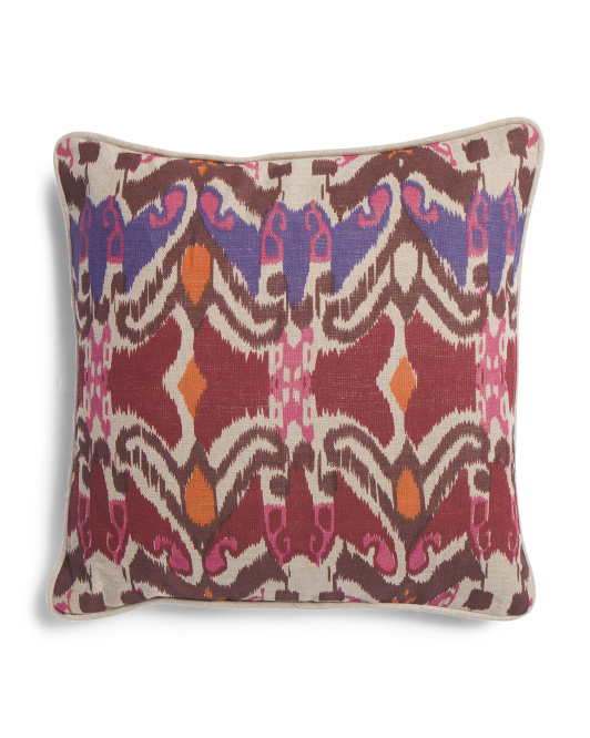 Made In India 18x18 Linen Ikat Pillow