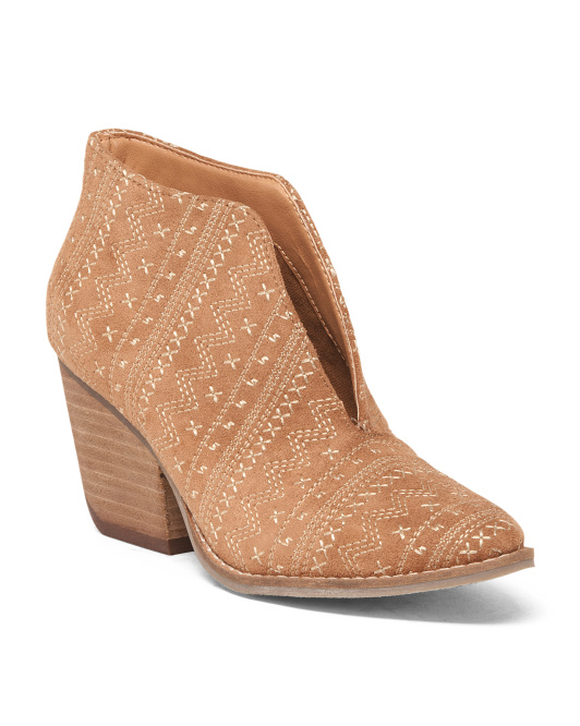 Stacked Heel Geo Motif Booties