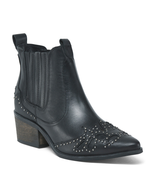 Pointy Toe Leather Ankle Booties