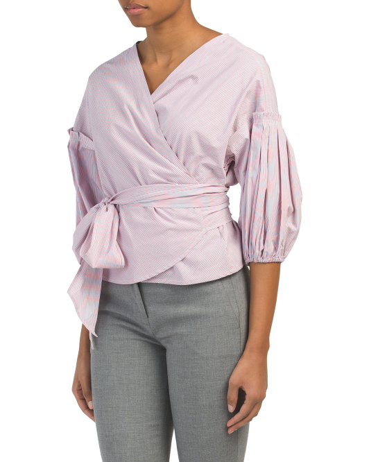 Bubble Sleeve Wrap Shirt With Tie