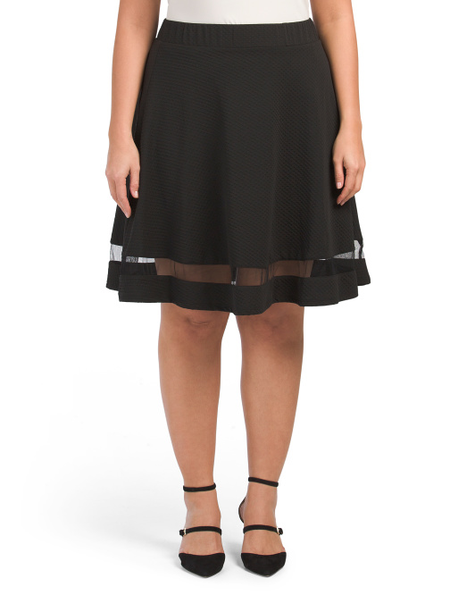 Plus Textured A-line Skirt With Mesh