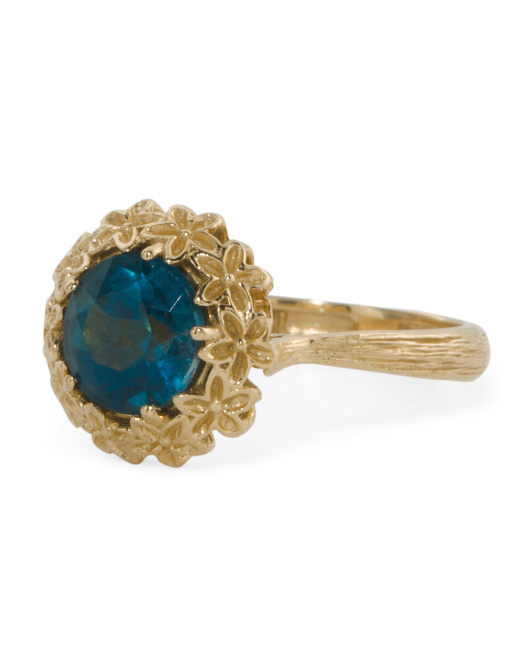 Made In Israel 14k Gold London Blue Topaz Floral Bezel Ring