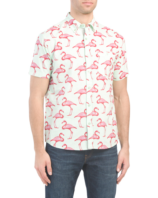 Short Sleeve Poplin Flamingo Print Shirt