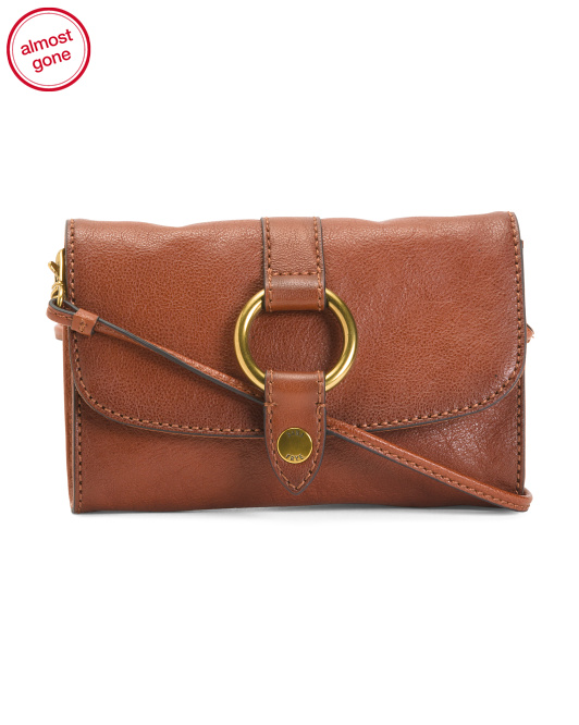 Leather Ring Wallet Crossbody