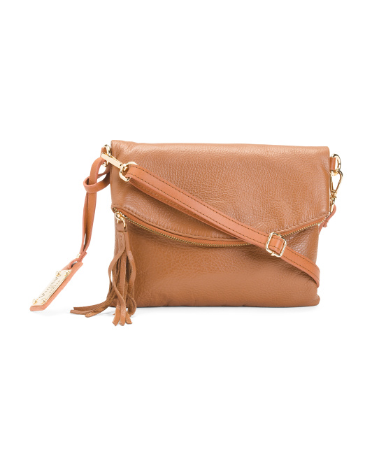 Made In Italy Foldover Leather Crossbody