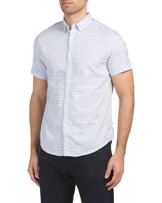 Short Sleeve Stripe Print Shirt