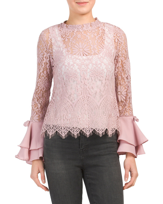 Lace Ruffle Sleeve Top