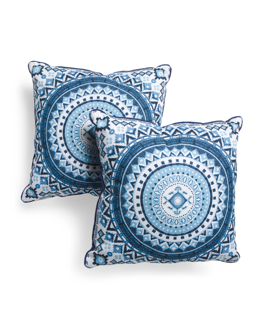 20x20 2pk Indoor Outdoor Medallion Pillows