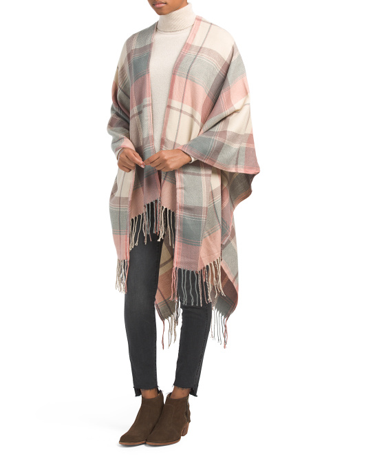 Large Plaid Wrap With Fringe