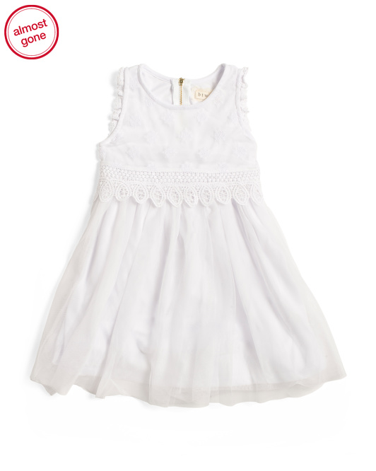 Girls Popover Mesh Dress With Pico Trim