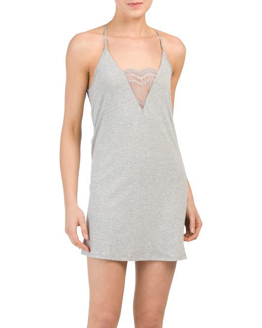 Knit Chemise With Lace Detail