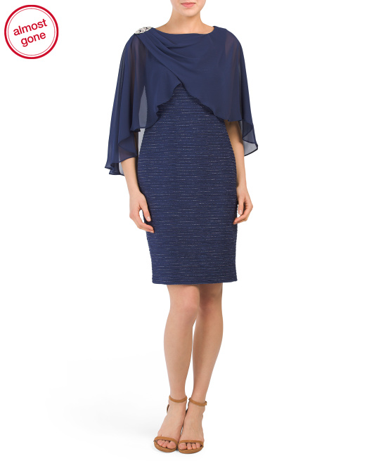 Cape Overlay Dress With Brooch