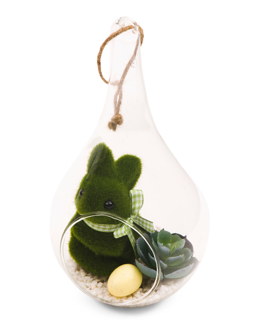 10in Teardrop Hanging Bunny Faux Succulent