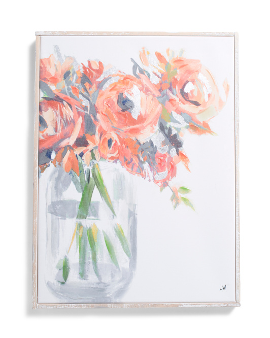 18x24 Floral Vase Distressed Wall Art