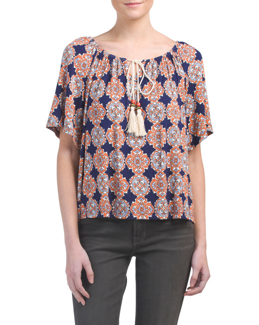 Petite Peasant Top With Tassel Accent