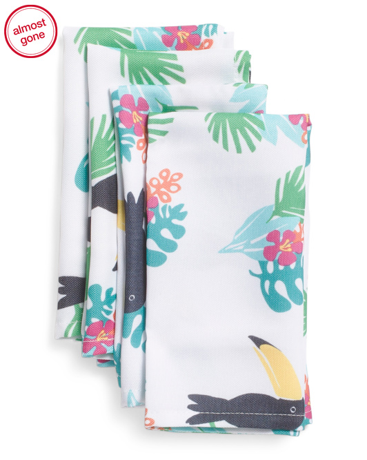 4pc Toucan Tropical Print Indoor Outdoor Napkins