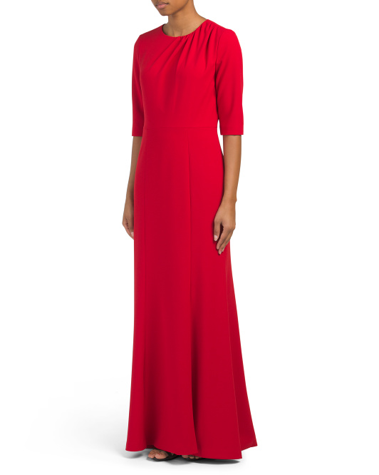 Scuba Crepe Gown With Draped Bodice