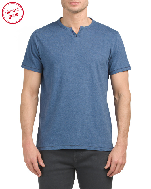Heather Peached Finish Henley Tee